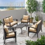 Honolulu Brown 5-Piece Metal Patio Conversation Seating Set with Tan Cushions