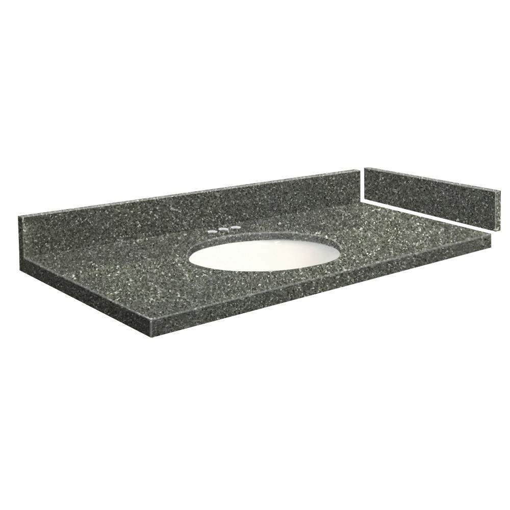 Transolid 28 25 In W X 22 D Quartz Vanity Top Greystone With 4 Centerset White Basin