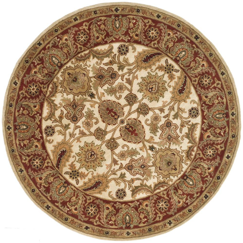 Safavieh Classic Ivory Red 8 Ft X 8 Ft Round Area Rug