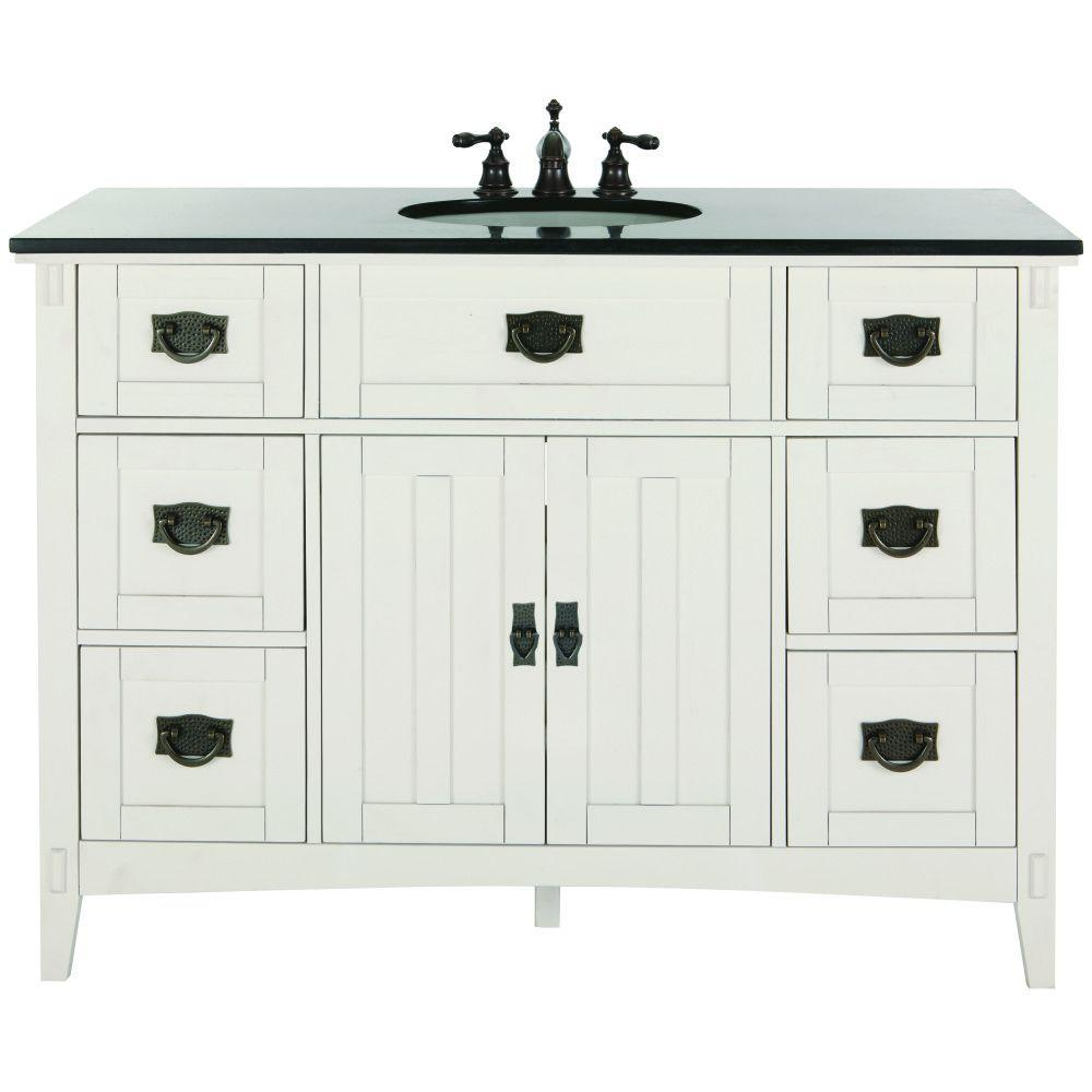 Home Decorators Collection Artisan 48 In. W Bath Vanity In White With  Natural Marble Vanity