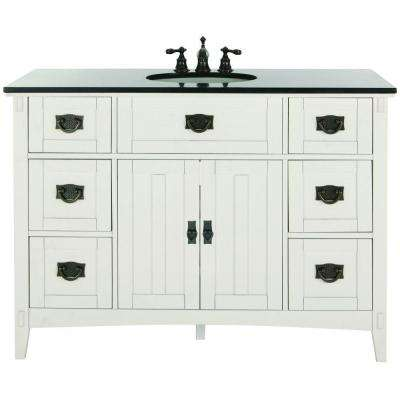 Artisan 48 in. W Bath Vanity in White with Natural Marble Vanity Top in Black