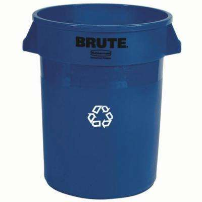 Brute 32 Gal. Blue Round Indoor Recycling Bin