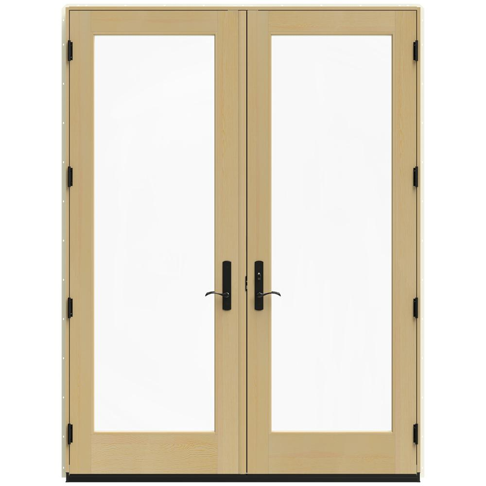 Jeld wen 72 in x 96 in w 4500 vanilla clad wood left for Screen for french doors inswing