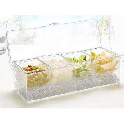 4-Section Ice Chilled Condiment Serving Tray