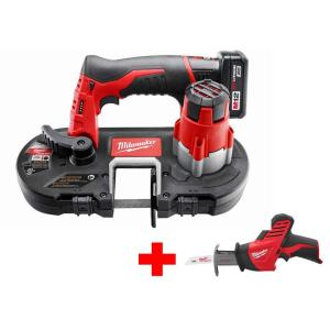 Milwaukee M12 12-Volt Lithium-Ion Cordless Sub-Compact Band Saw XC Kit with Free M12 Hackzall by Milwaukee