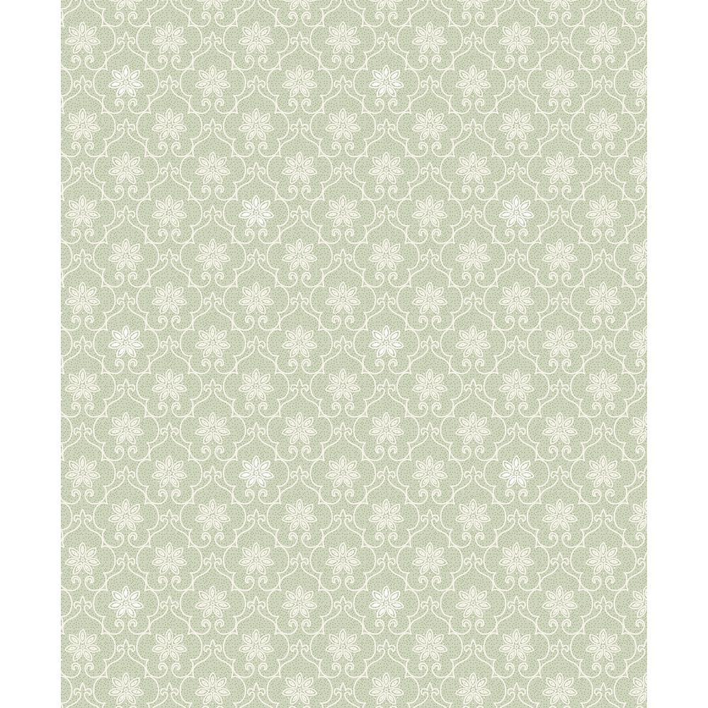 Heston Light Green Trellis Wallpaper