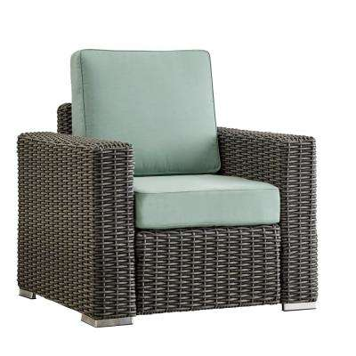 Camari Charcoal Square Arm Wicker Outdoor Patio Lounge Chair with Blue Cushion