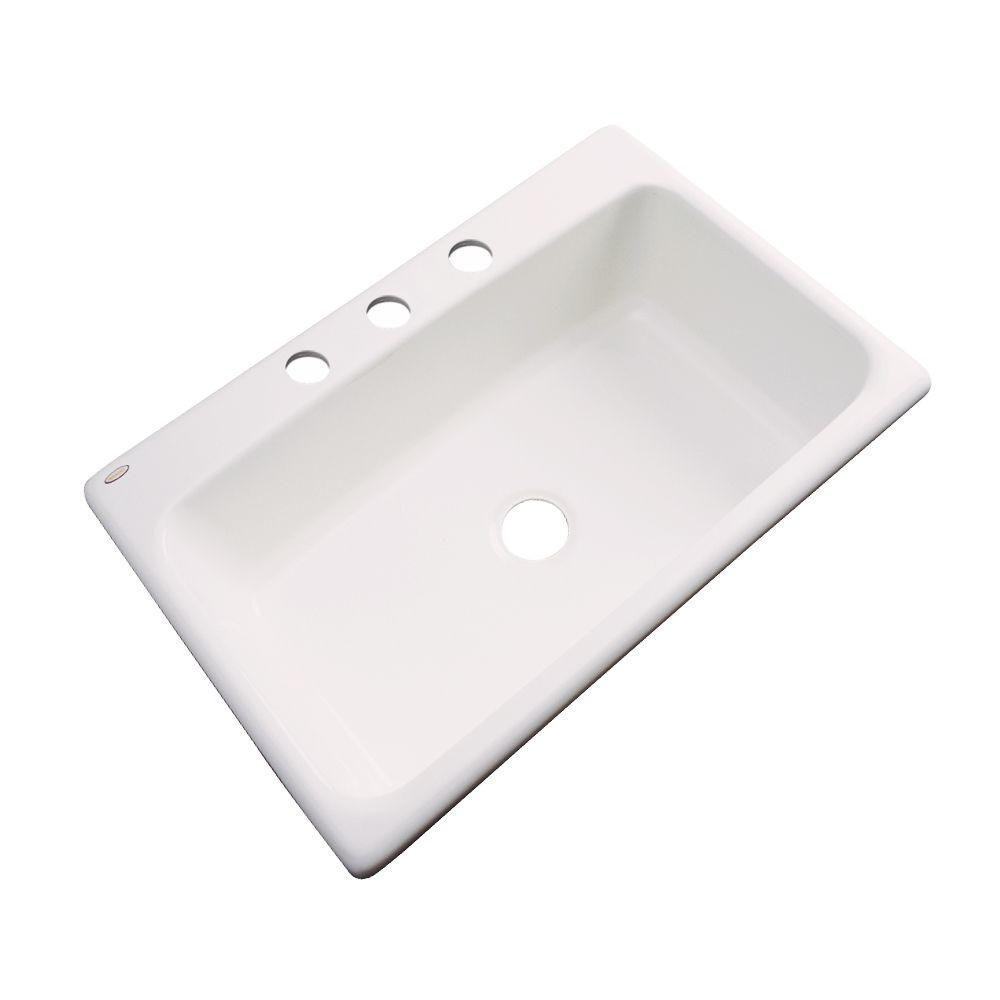Thermocast Manhattan Drop-In Acrylic 33 in. 3-Hole Single Bowl Kitchen Sink in Bone
