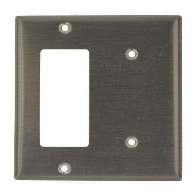 2-Gang 1 No Device Blank 1-Decora Standard Size Stainless Steel Combination Wall Plate, Stainless Steel