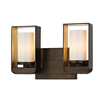 Escape 2-Light Bronze 11.5 in. W LED Bath Light with Gold Leaf Accents and Gloss Opal Glass Shade