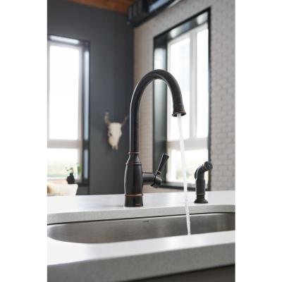 Noell Single-Handle Standard Kitchen Faucet with Side Sprayer in Mediterranean Bronze
