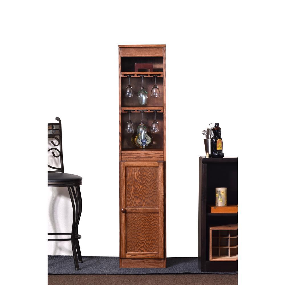 21-Bottle Dry Oak Bar Cabinet