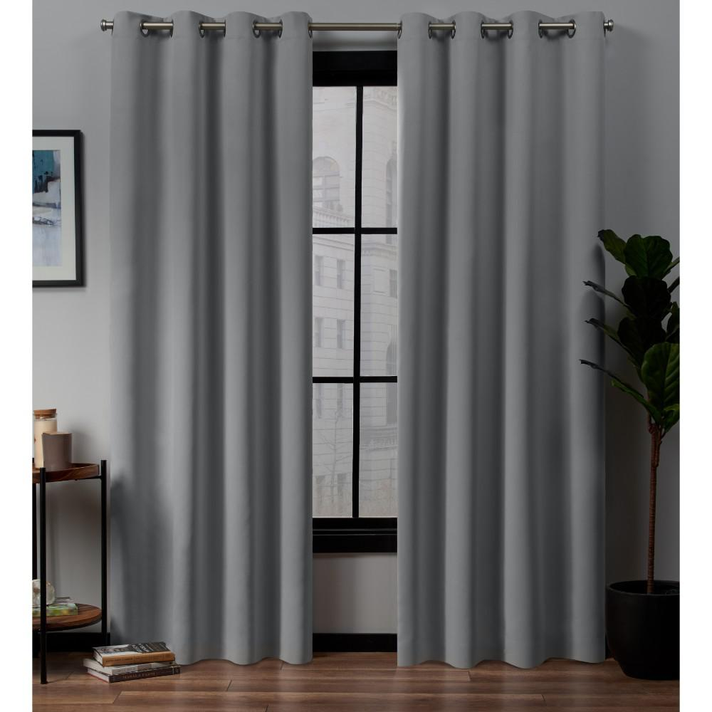 Exclusive Home Curtains Academy Total Blackout Grommet Top Curtain Panel Pair in Silver - 52 in. W x 96 in. L (2-Panel)