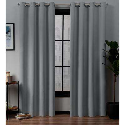 Academy Total Blackout Grommet Top Curtain Panel Pair in Silver - 52 in. W x 96 in. L (2-Panel)