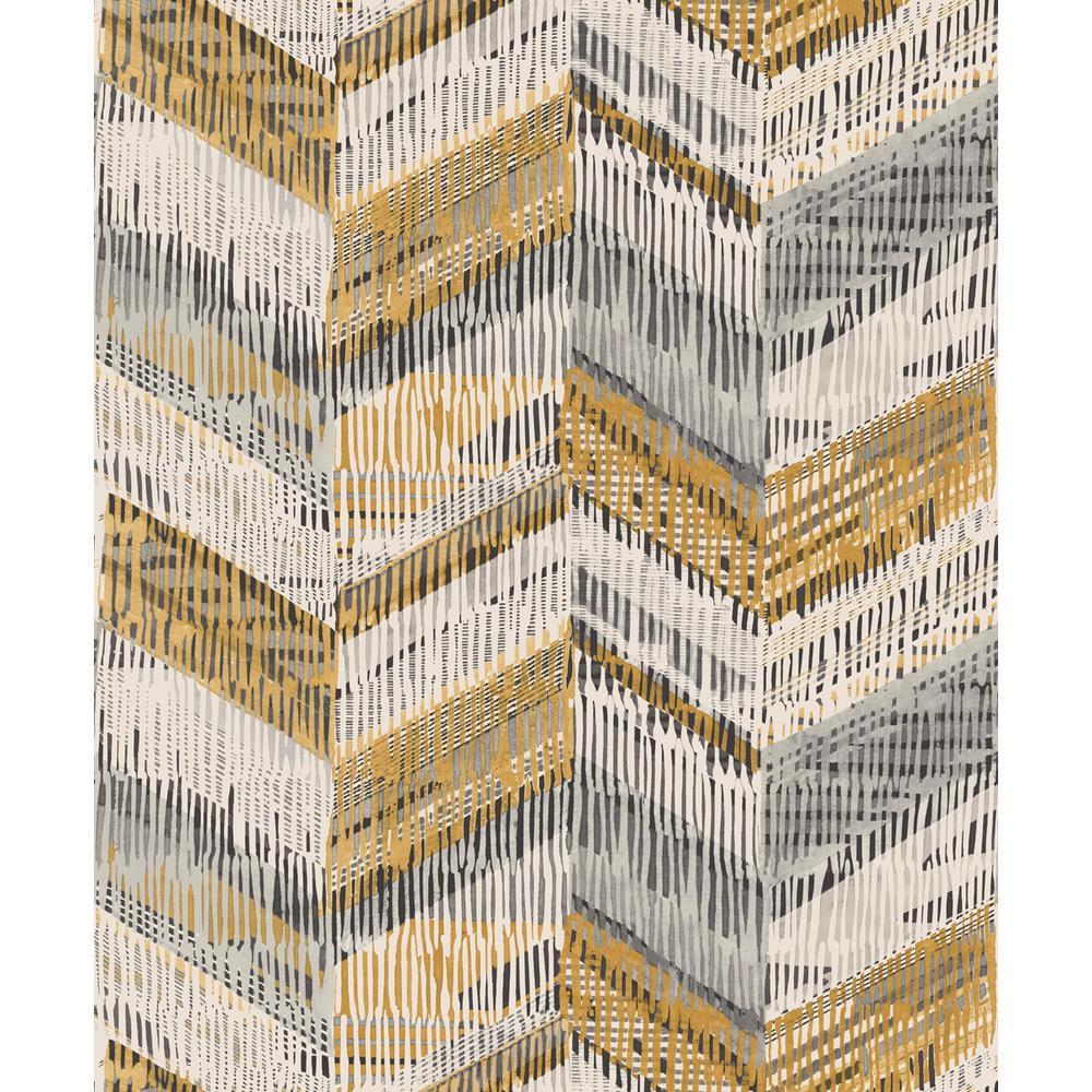 Chevron Weave Ochre Wallpaper