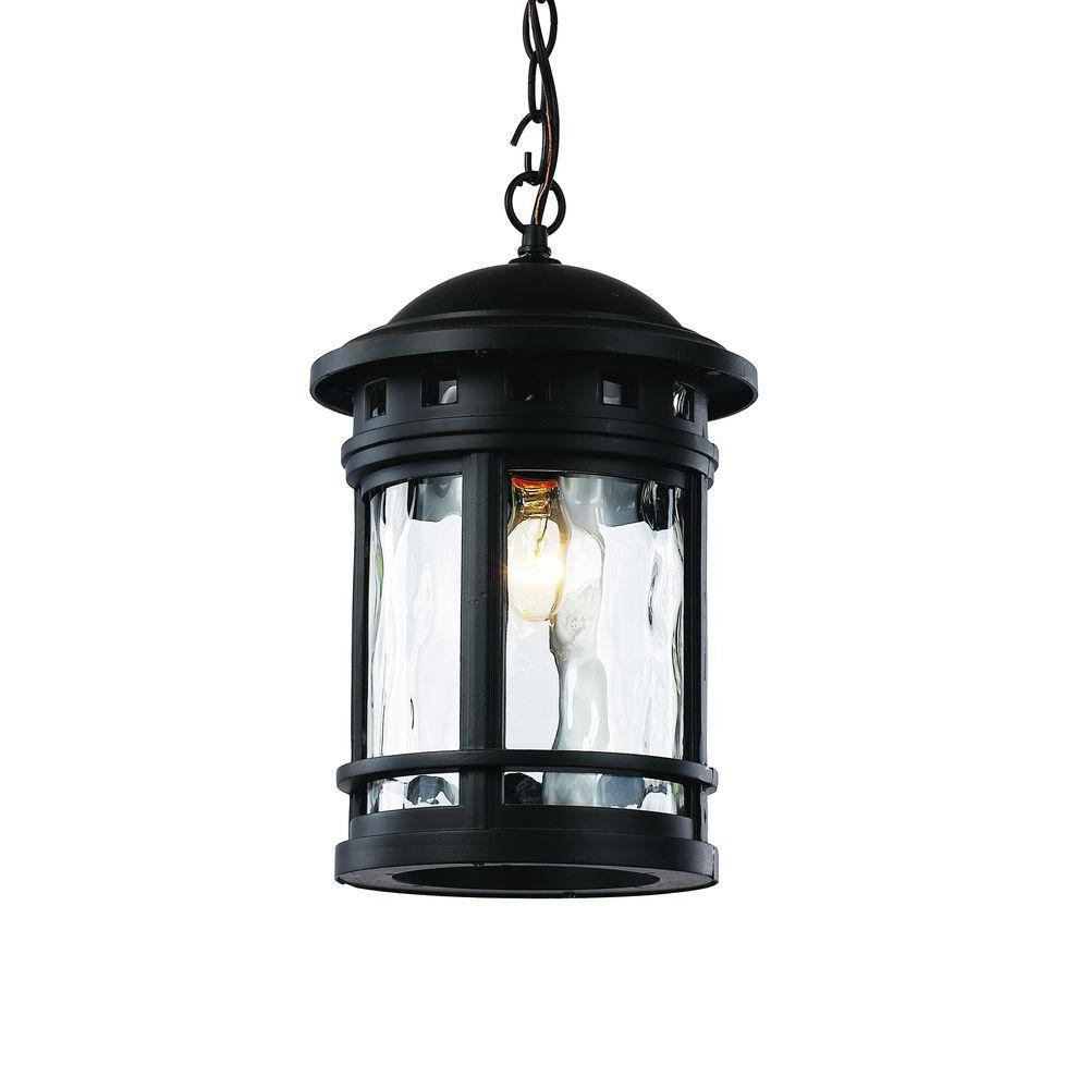 1-Light Black Outdoor Chimney Stack Hanging Lantern