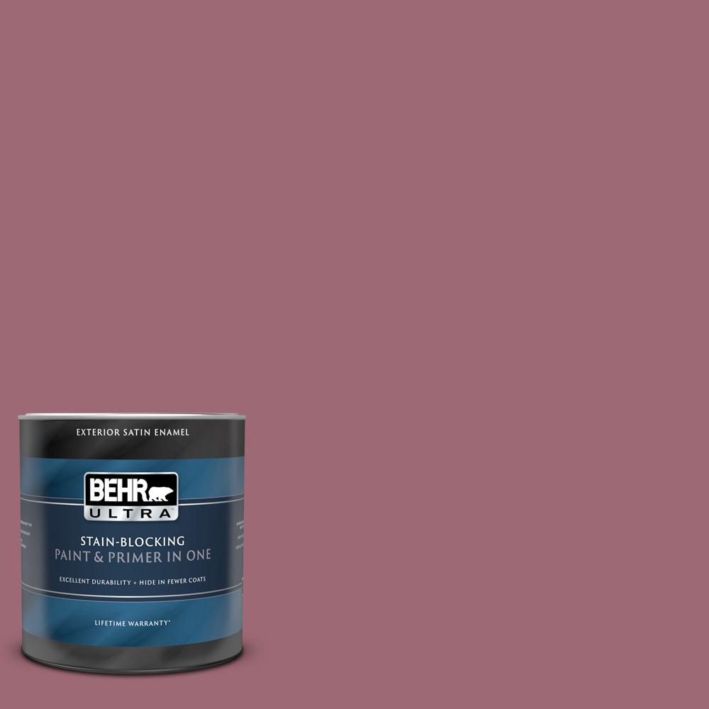 Behr Ultra 1 Qt 100d 5 Berries And Cream Satin Enamel Exterior Paint And Primer In One 985304 The Home Depot