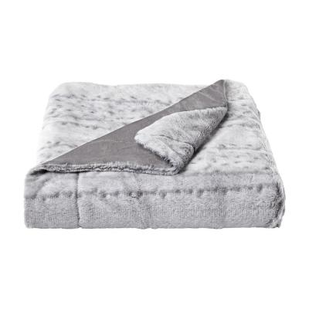 Oversized Faux Fur Cloud Grey Hypoallergenic Throw Blanket
