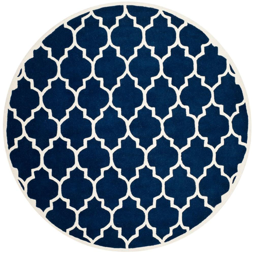 Chatham Dark Blue/Ivory 7 ft. x 7 ft. Round Area Rug
