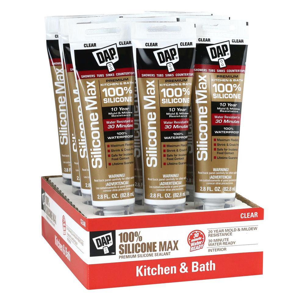 Silicone Max 2.8 oz. Clear 100% Premium Kitchen and Bath Silicone Sealant (12-Pack)