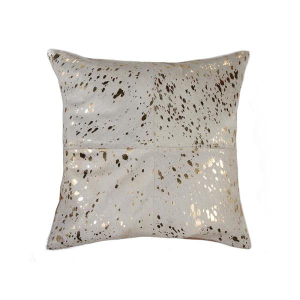 Torino Quattro Cowhide Natural & Gold Animal Print 18 in. x 18 in. Throw Pillow