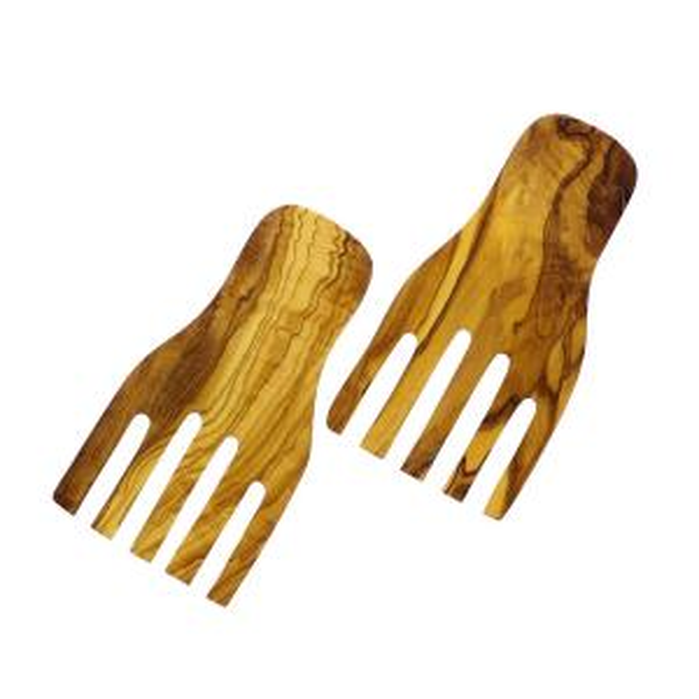 Olive 7 in. x 4 in. 2-Piece Wood Salad Hands Set