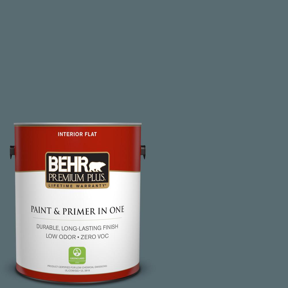 BEHR Premium Plus 1-gal. #ECC-58-3 Unreal Teal Zero VOC Flat Interior Paint