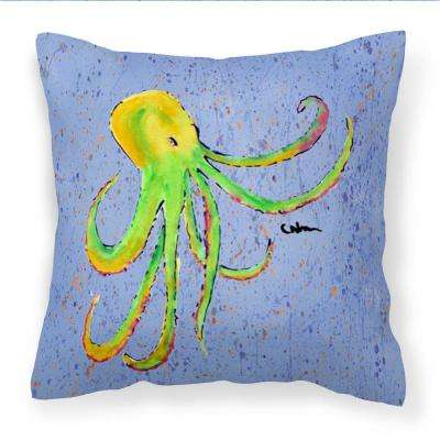 14 in. x 14 in. Multi-Color Lumbar Outdoor Throw Pillow Octopus on Blue