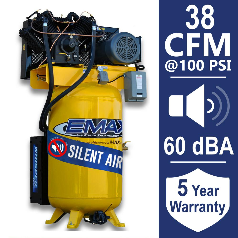 Industrial PLUS 80 Gal. 10 HP 1-Phase Silent Air Electric Air Compressor