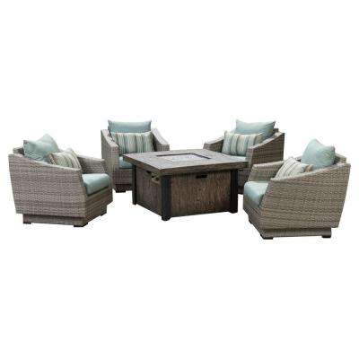 Cannes 5-Piece Patio Fire Pit Seating Set with Bliss Blue Cushions