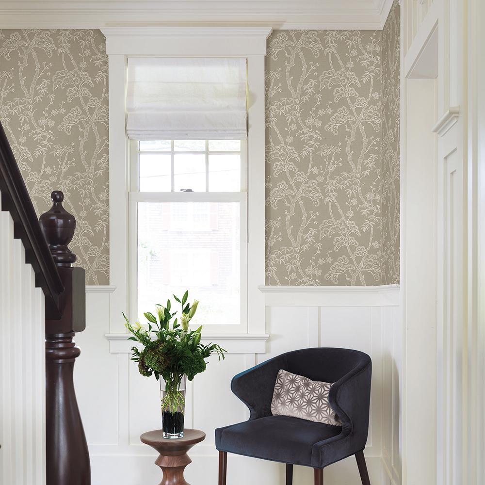 56.4 sq. ft. Bonsai Tan Tree Wallpaper