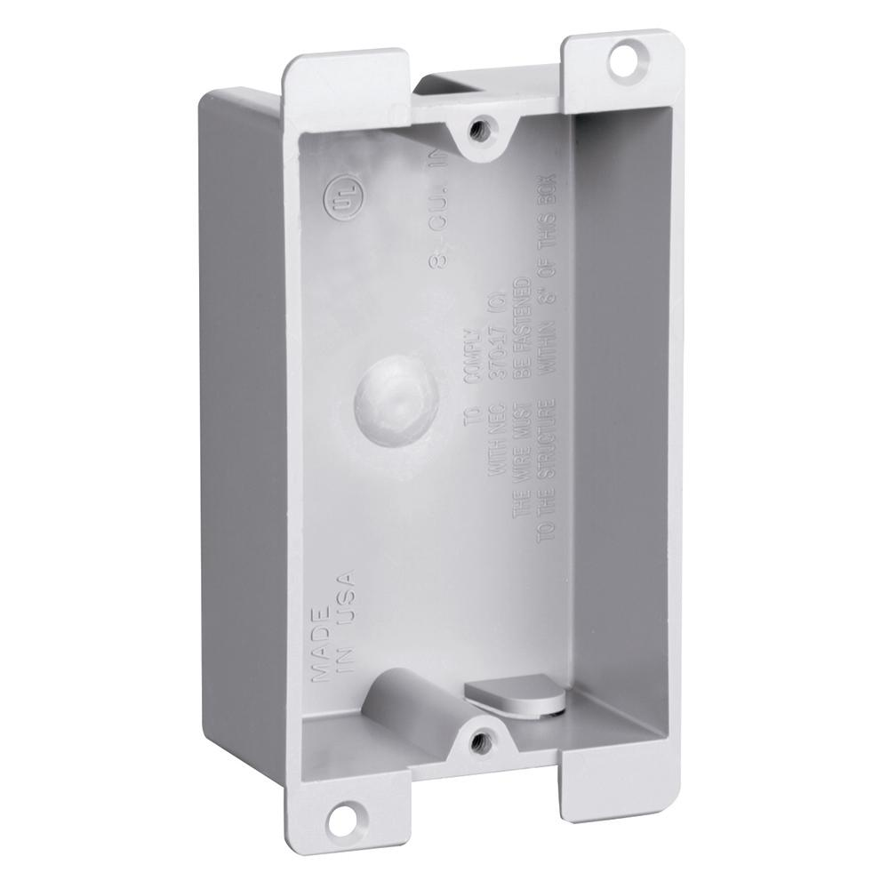Slater Old Work Flange 1-Gang Shallow Plastic Switch and Outlet Box ...