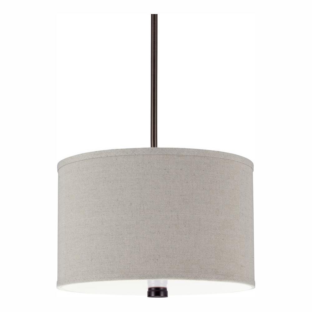 Dayna 2-Light Burnt Sienna Linen Shade Pendant with LED Bulbs