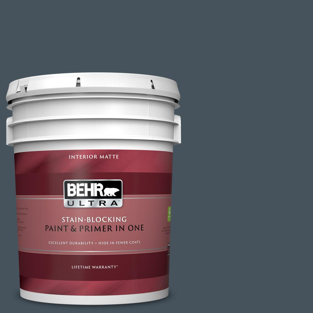 BEHR ULTRA 5 gal. #BNC-40 Moody Black Matte Interior Paint and Primer in One