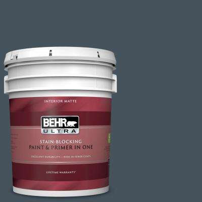 5 gal. #BNC-40 Moody Black Matte Interior Paint and Primer in One