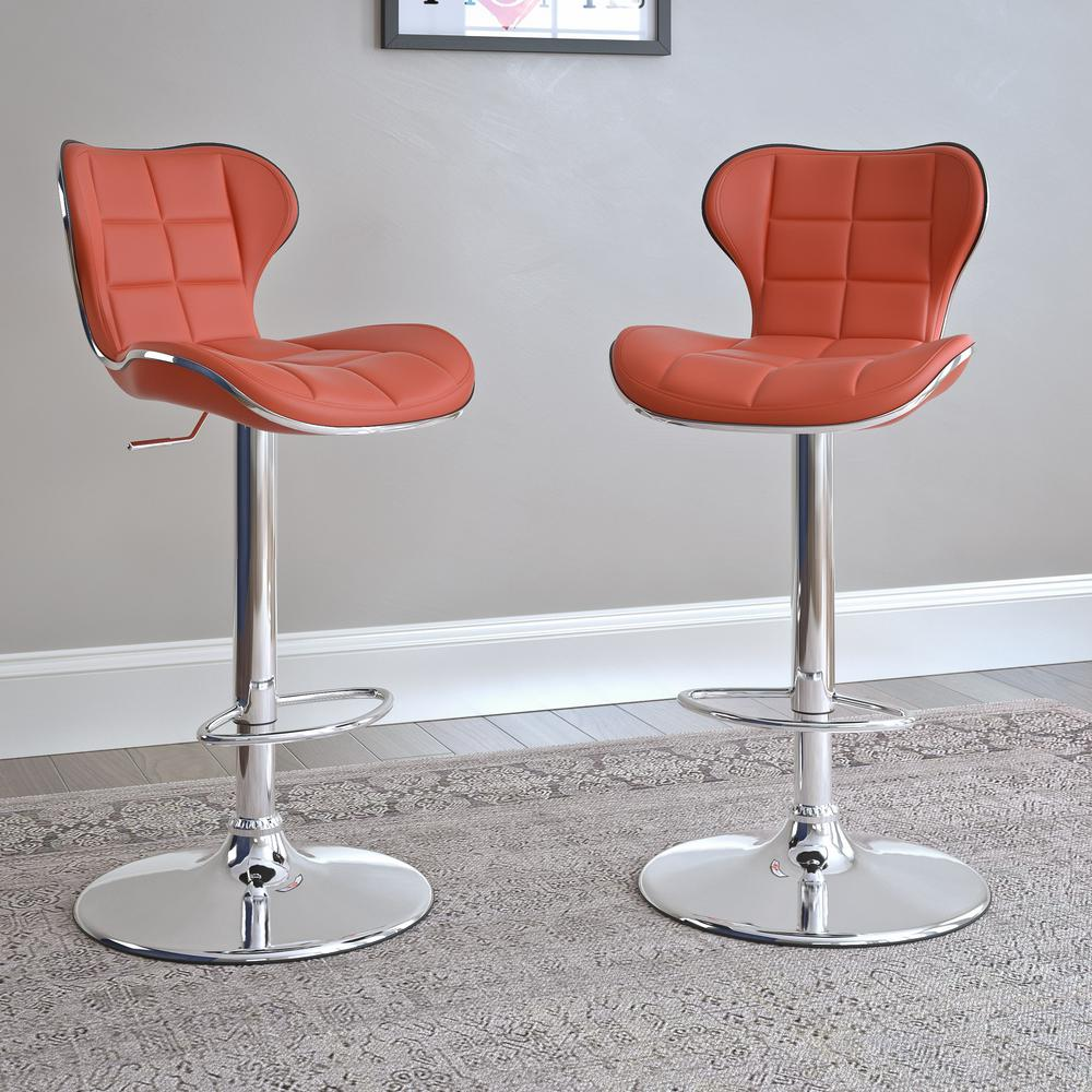 Corliving Adjule Height Red Bonded Leather Swivel Bar Stool Set Of 2