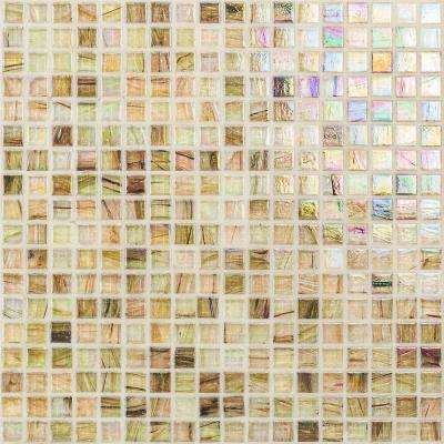 Breeze White Gold 12-3/4 in. x 12-3/4 in. x 6 mm Glass Mosaic Tile
