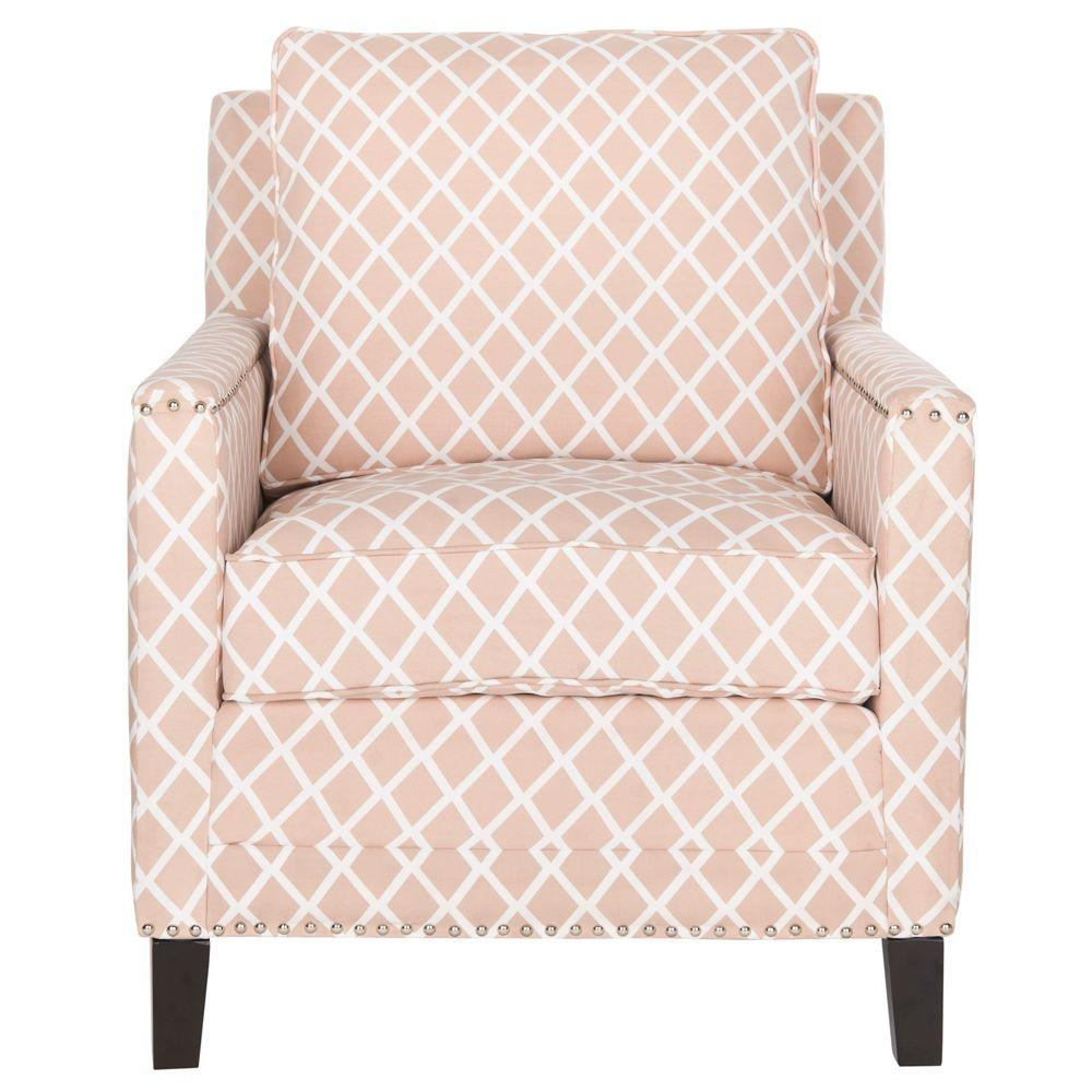 Gentil Safavieh Buckler Peach Pink U0026 White Bicast Leather Arm Chair
