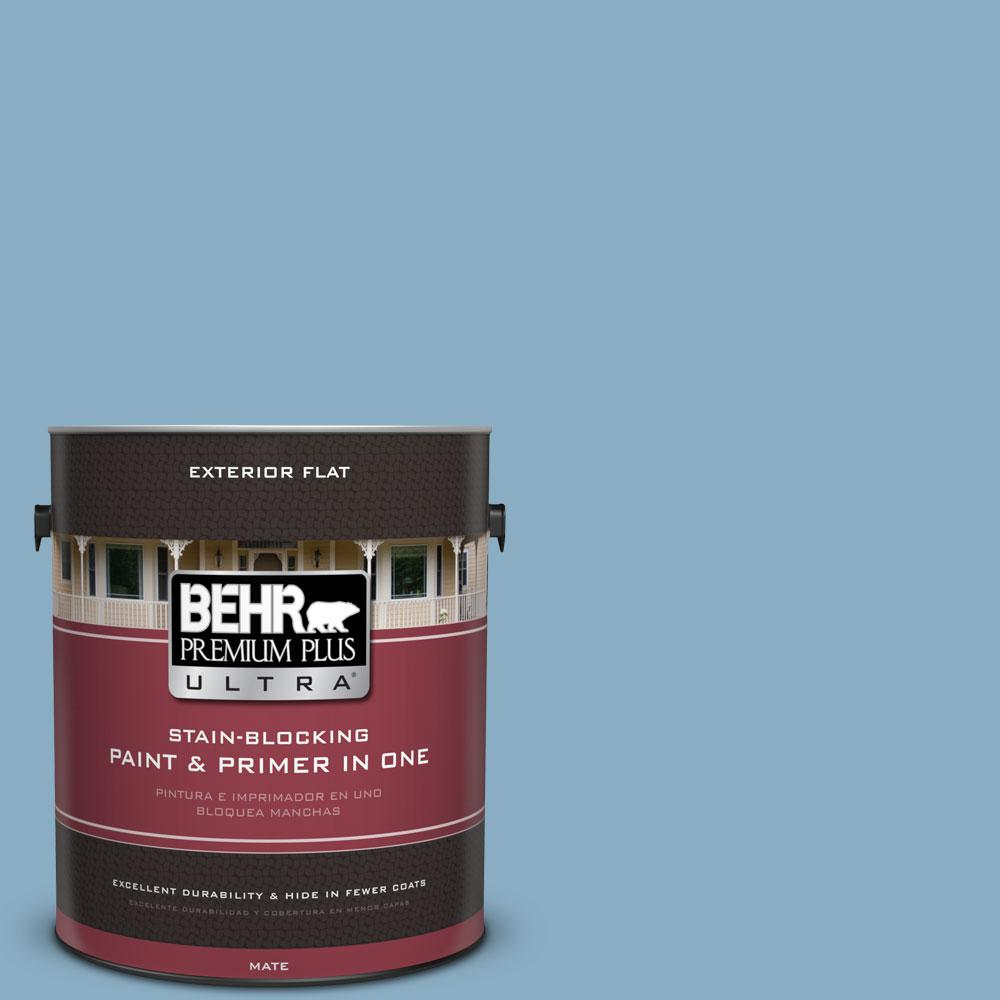 BEHR Premium Plus Ultra 1-gal. #S500-4 Chilly Blue Flat Exterior Paint