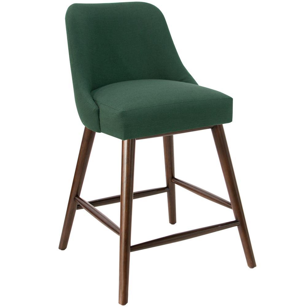 Skyline Furniture Linen Conifer Green Rounded Back Counter Stool 84 7lnncnfgrn The Home Depot