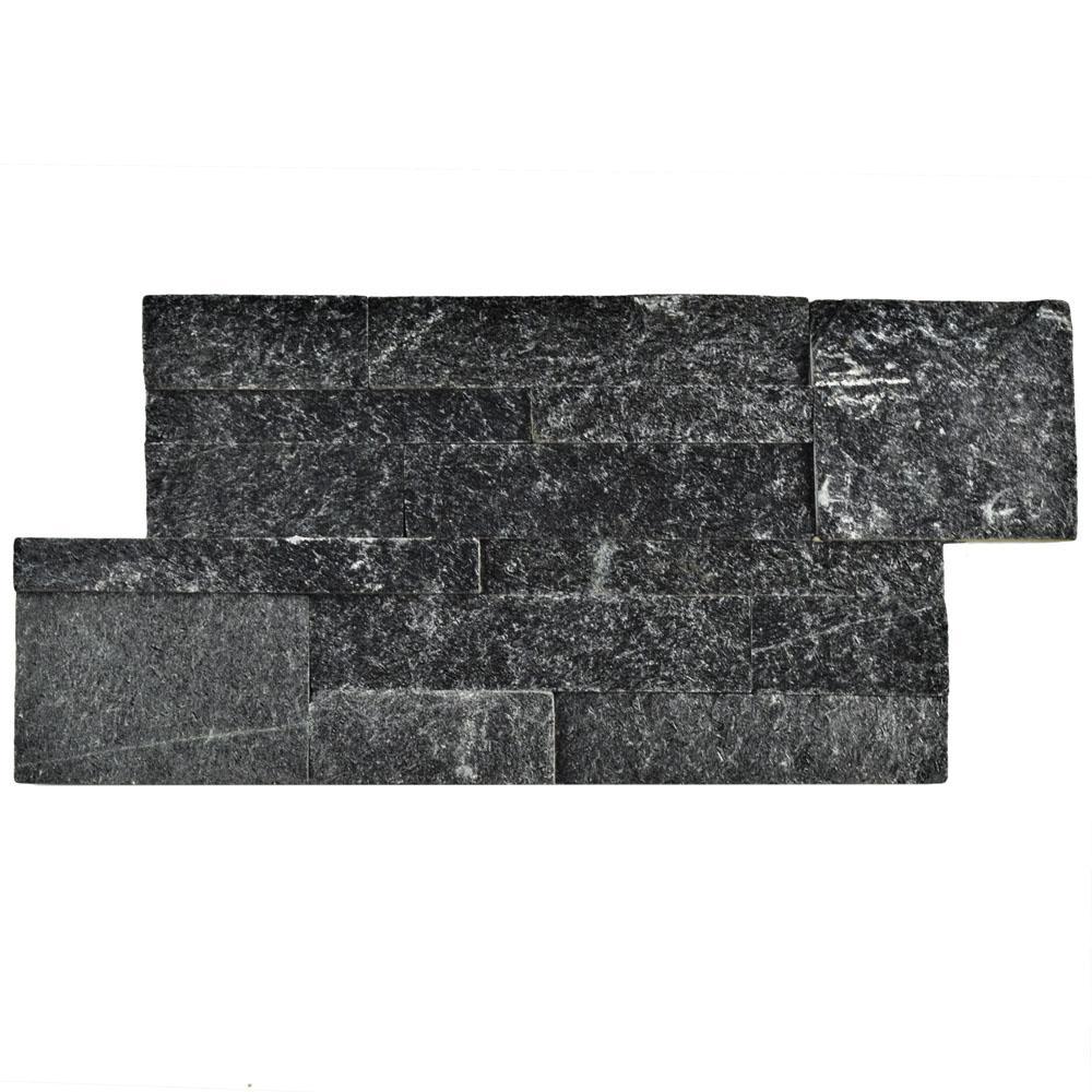 Quartzite Stone Tile : Merola tile ledger panel black quartzite in
