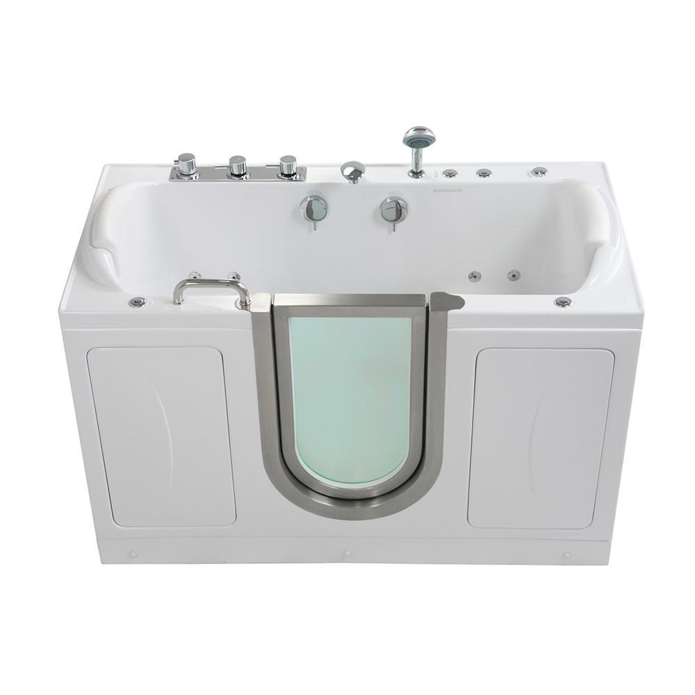 Ella Companion 2 Seat 60 in. Acrylic Walk-In MicroBubble Air Bath Bathtub in White, Center Door, Faucet Set, 2 in. Dual Drain
