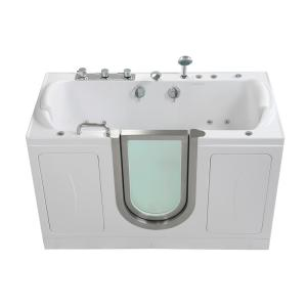 Companion 2 Seat 60 In. Acrylic Walk In Air Bath Bathtub In White With