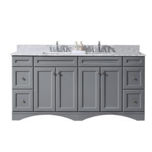 Virtu USA Talisa 72 inch W x 22 inch D Vanity in Grey with Marble Vanity Top in White with White Basin by Virtu USA