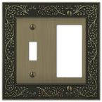 Bleinhem 2 Gang 1-Toggle and 1-Rocker Metal Wall Plate - Brushed Brass