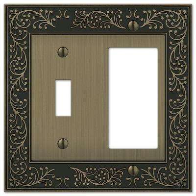 English Garden 1 Toggle 1 Decora Combination Wall Plate - Brushed Brass