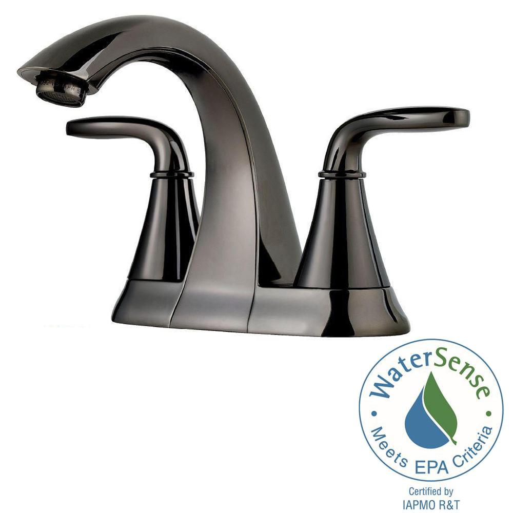 Pfister Pasadena 4 In. Centerset 2 Handle High Arc Bathroom Faucet In  Midnight
