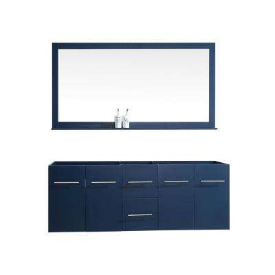 Amelie 60 in. Double Bath Vanity Cabinet Only with Mirror in Navy Blue