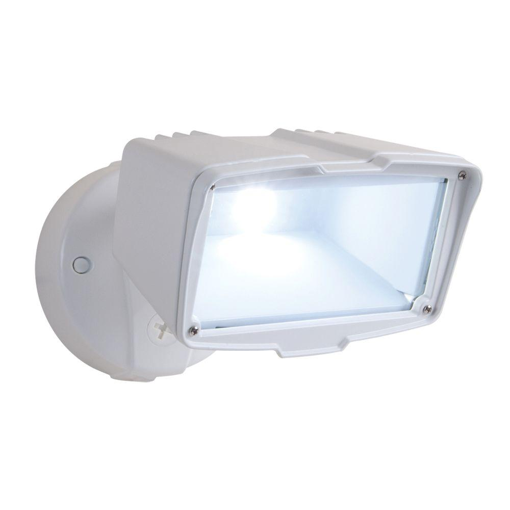 Halo 32 watt white outdoor integrated led triple flood light with white outdoor integrated led large single head security flood light with 1900 aloadofball Images