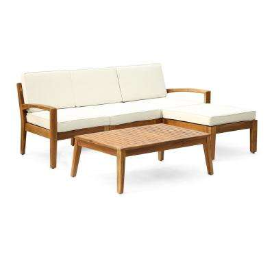 Penelope 4-Piece Wood Outdoor Sectional Set with Beige Cushions